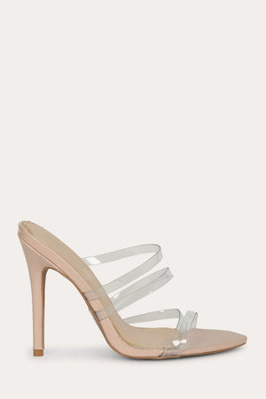 High Point - Clear Strappy Steletto Mules