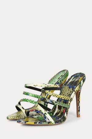 High Point - Strappy Multi Snake Steletto Mules