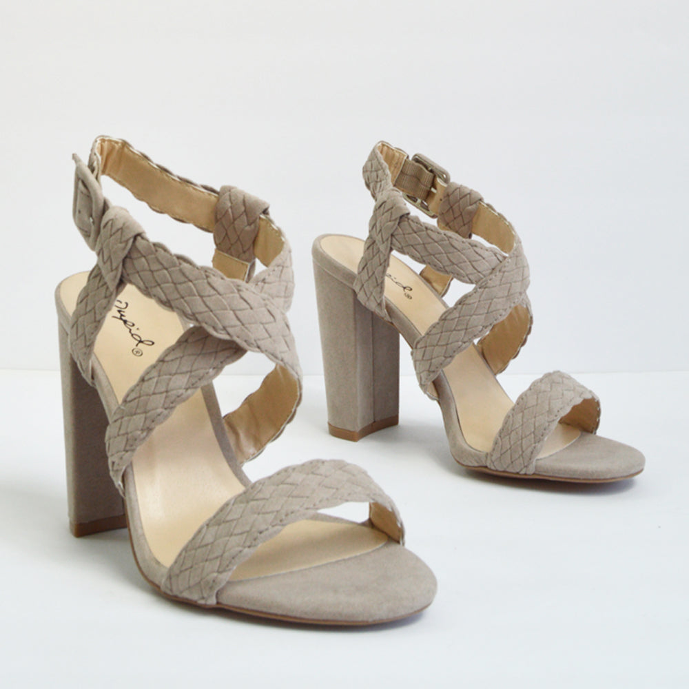 Justine - Taupe Braided Strappy Heels