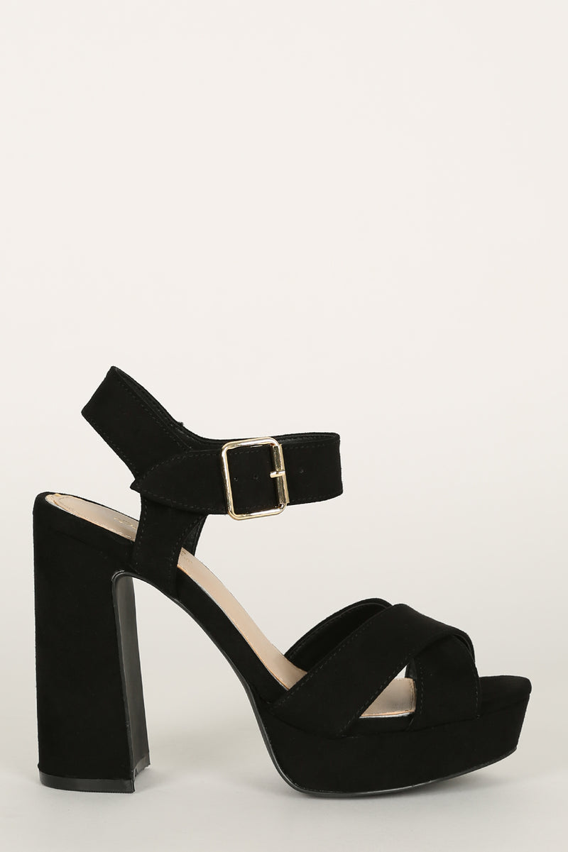 Lead Em On - Black X Band Platfrom Heels