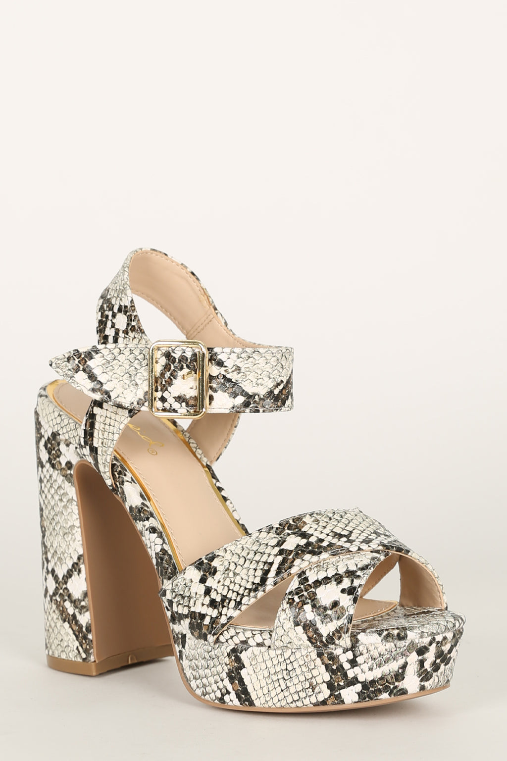 Lead Em On - Beige Snake X Band Platfrom Heels