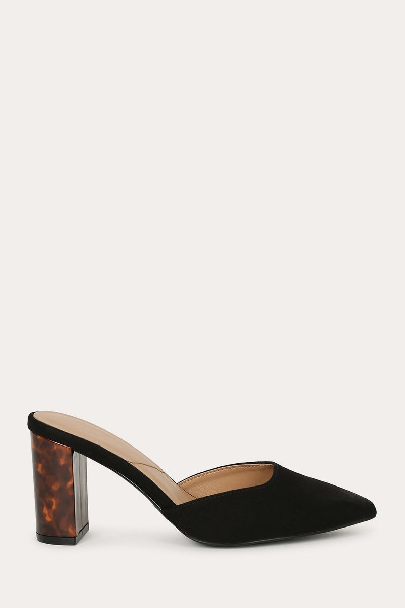 Hollyn - Black Low Block Heel Pumps
