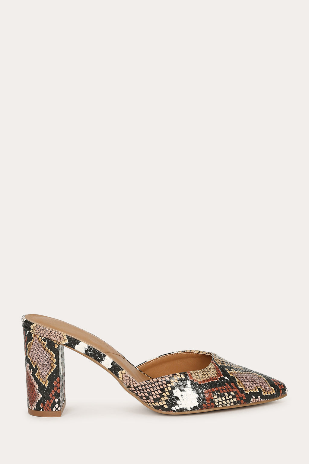 Hollyn - Camel Snake Low Block Heel Pumps