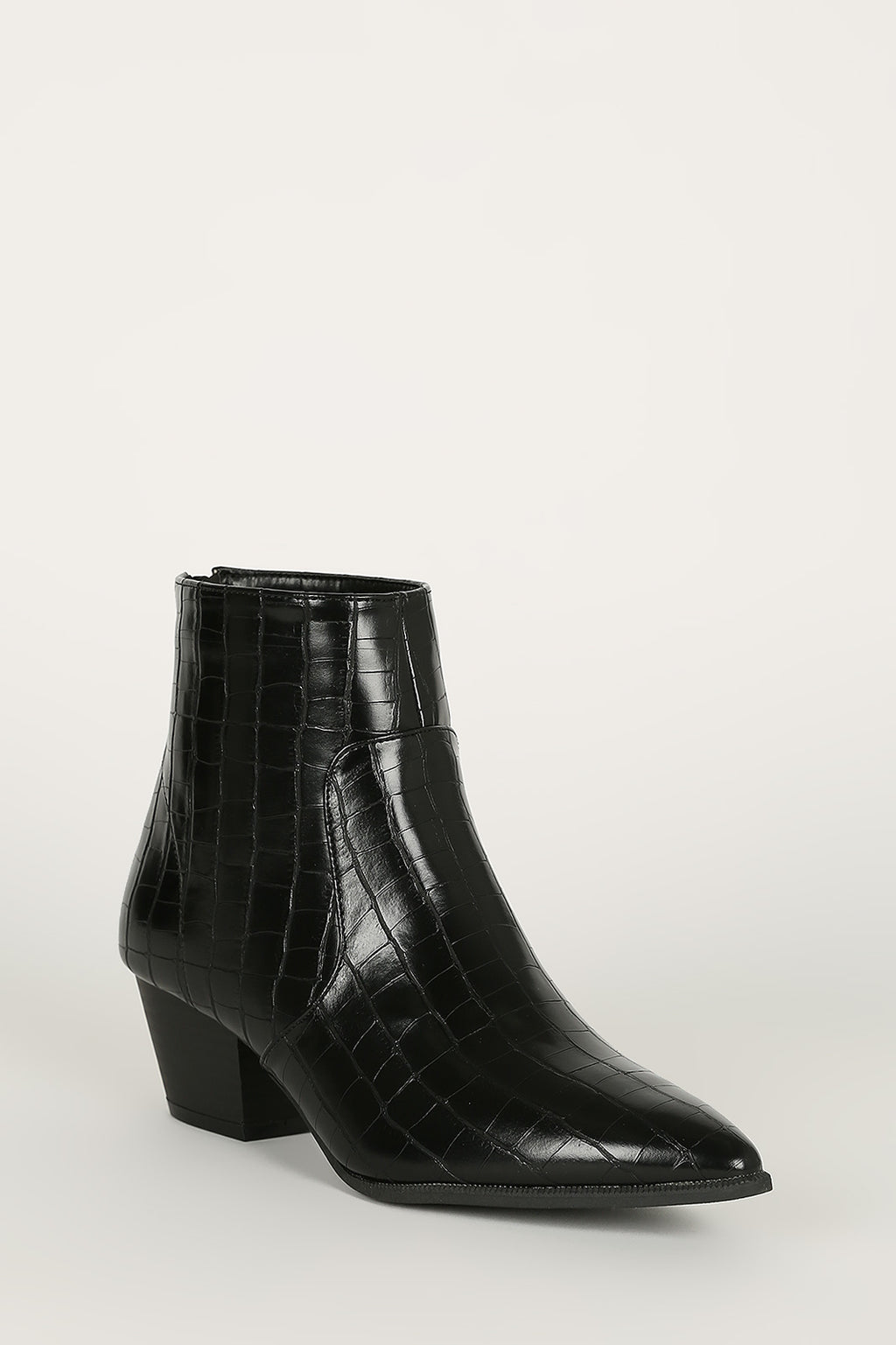 Stop and Stare - Black Croco Pointy Booties