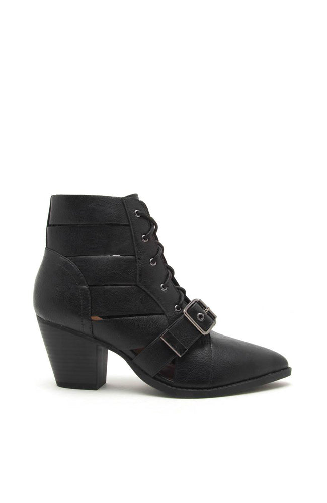 Power Play - black Lace Up Booties similar to ZARA booties by Public Desire
