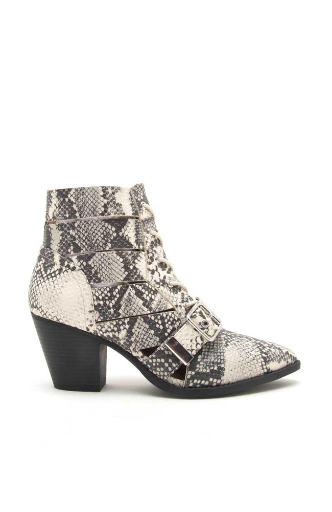 Power Play - Stone Snake Lace Up Booties