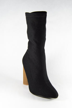 Runway - Black Knit Sock Booties