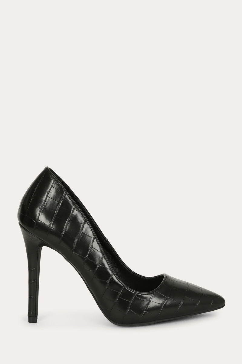 Jade - Black Croco Pumps