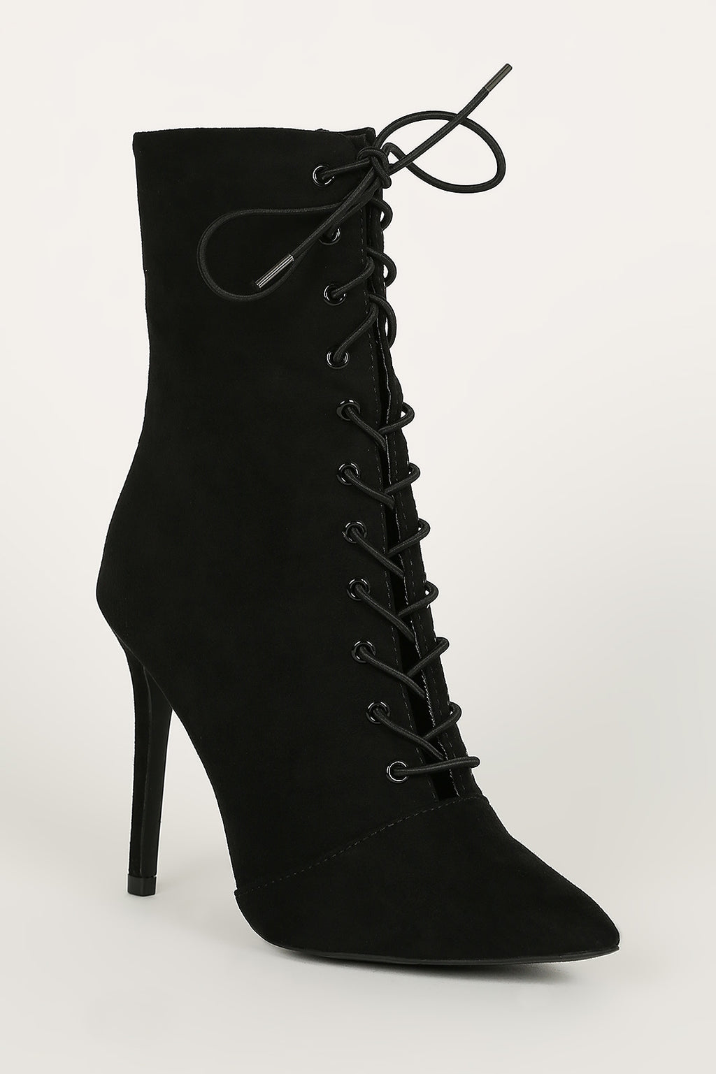 The London - Black Stilleto Lace Up Booties