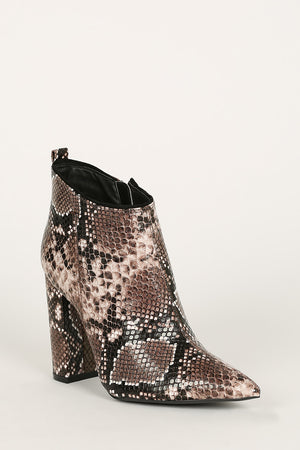 Midnight Muse - Beige Snake Pointed Toe Ankle Booties