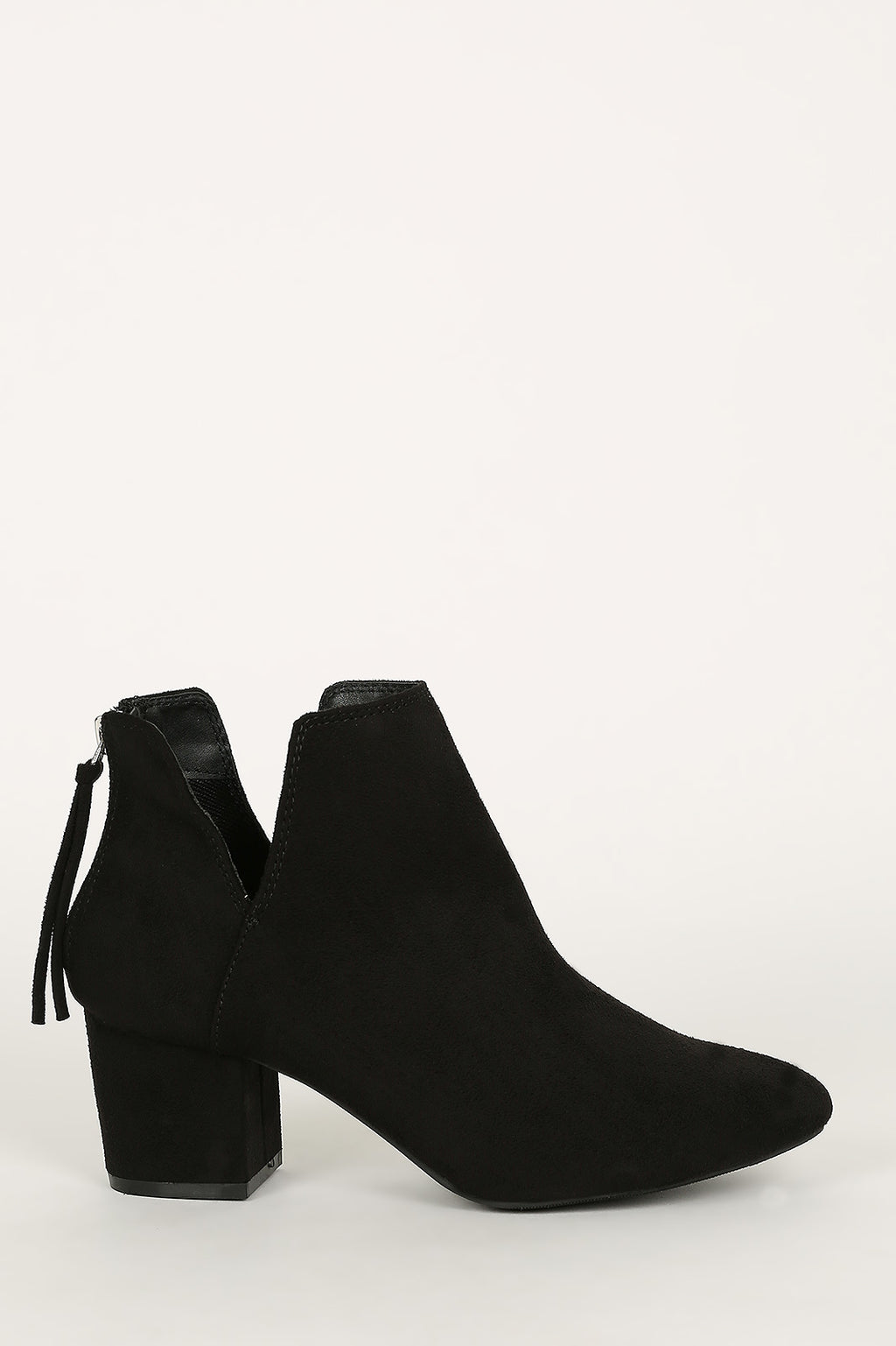 Uptown Chic - Black Side Slit Ankle Booties