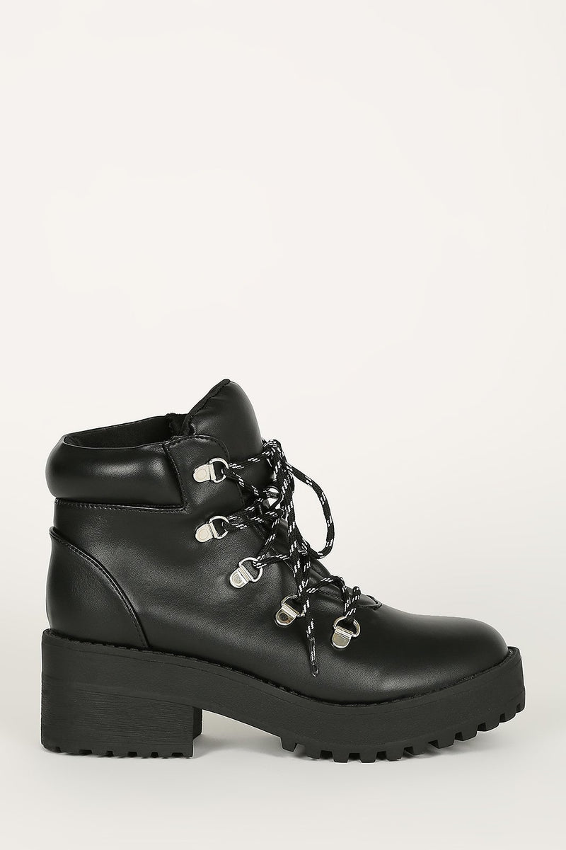 Got It Bad - Black Lace Up Lug Sole Booties