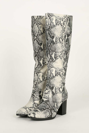In The City - Stone Snake Block Heel Boots