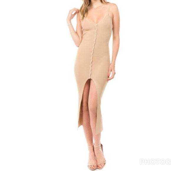 High Maintnance - Tan Button Down Slit Dress
