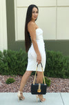 Tied Up - Ivory Ribbed Dress