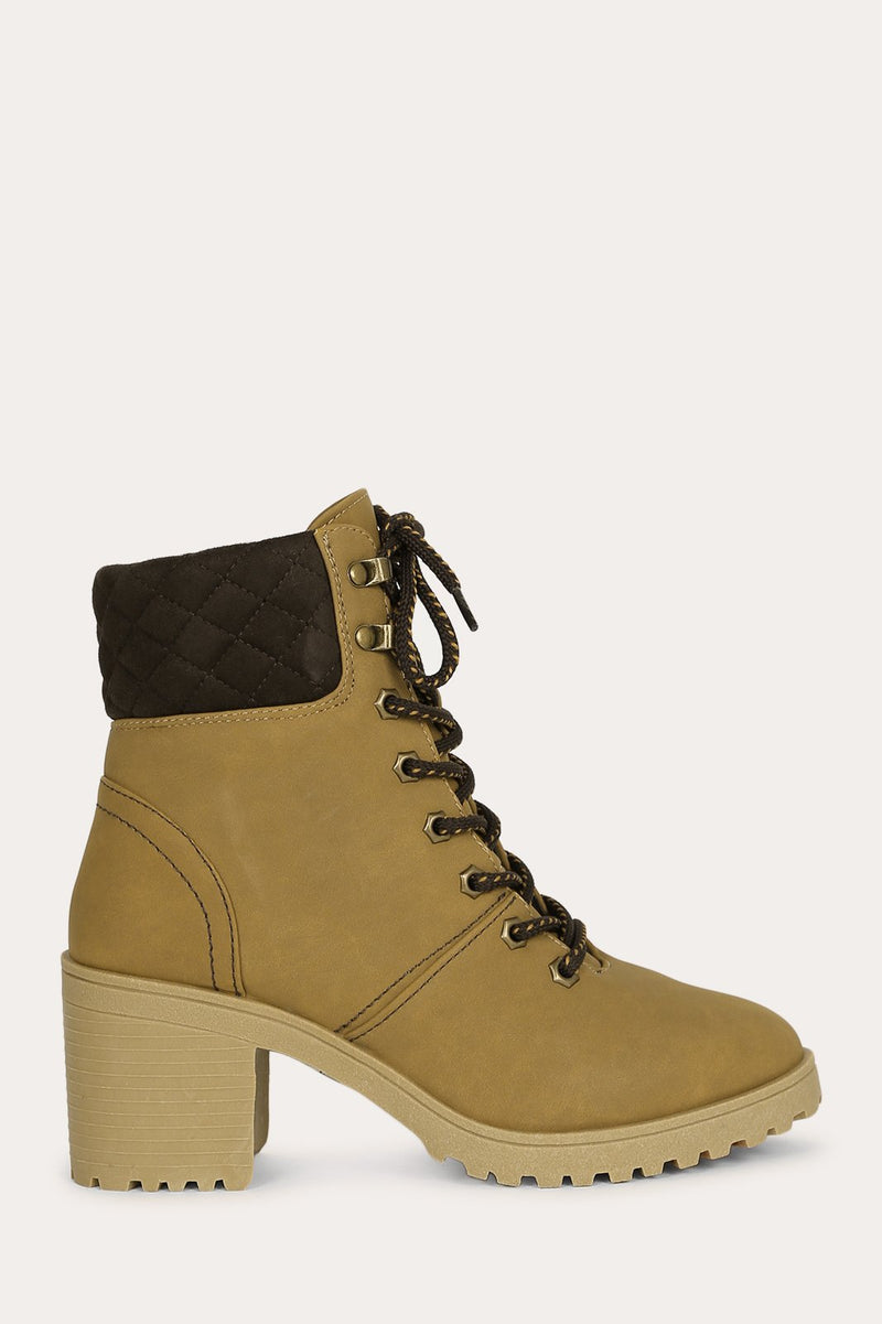 Parker - Tan Lace Up Booties