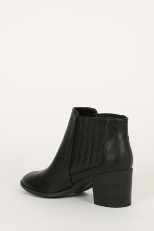 Mid Town - Black Almond Toe Chelsea Booties