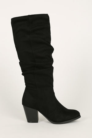 Riding Around - Black Knee High Rouched Boots