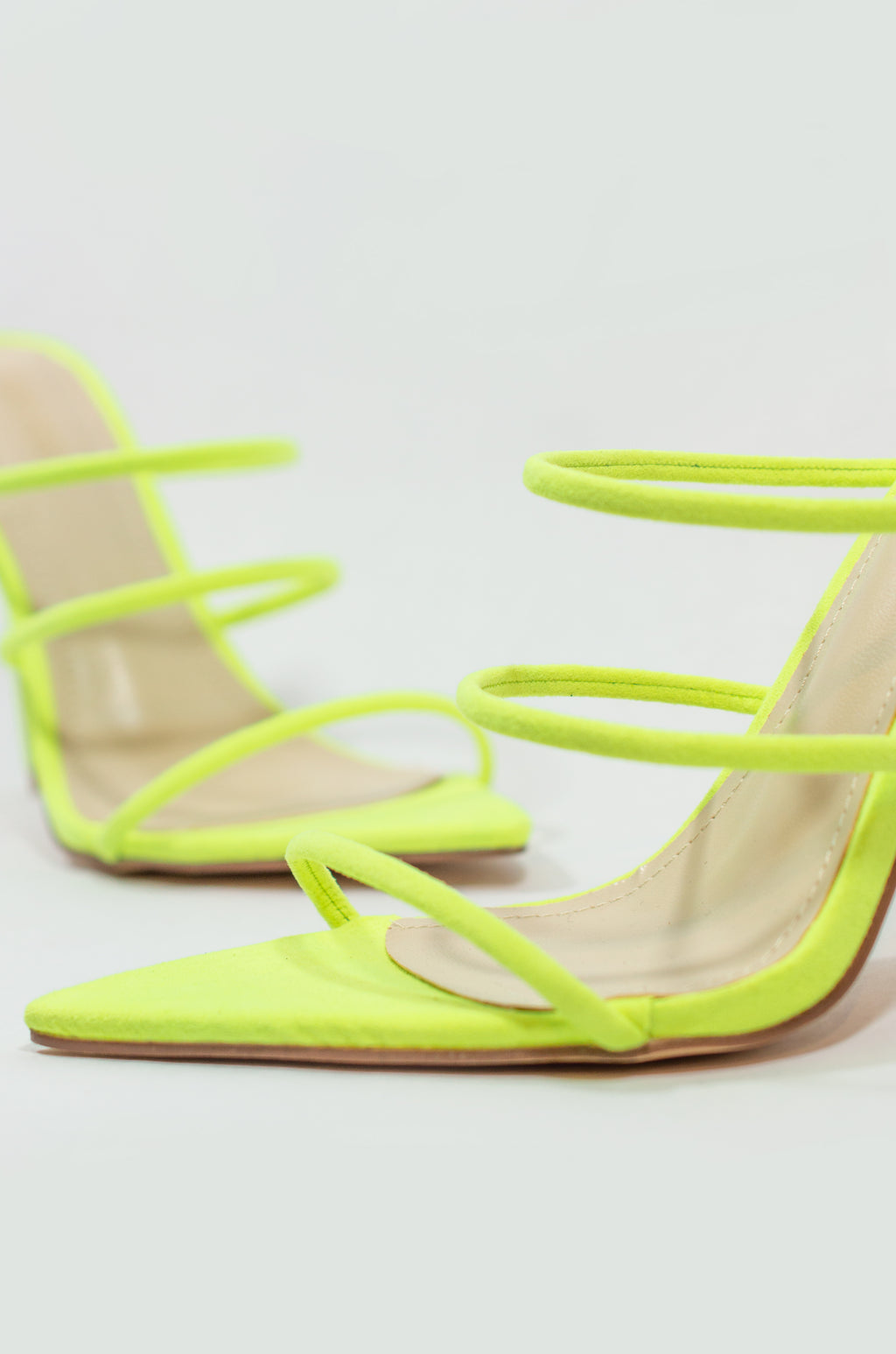 Unforgettable - Neon Lime Strappy Heels