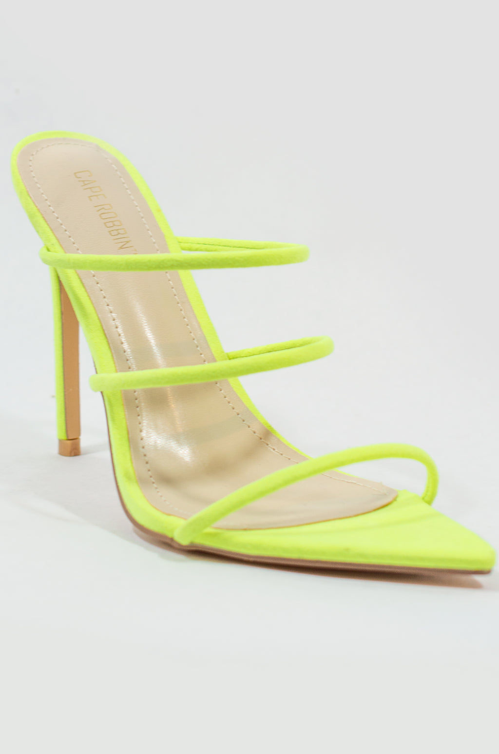 d38efc0192bbd Unforgettable - Neon Lime Strappy Heels