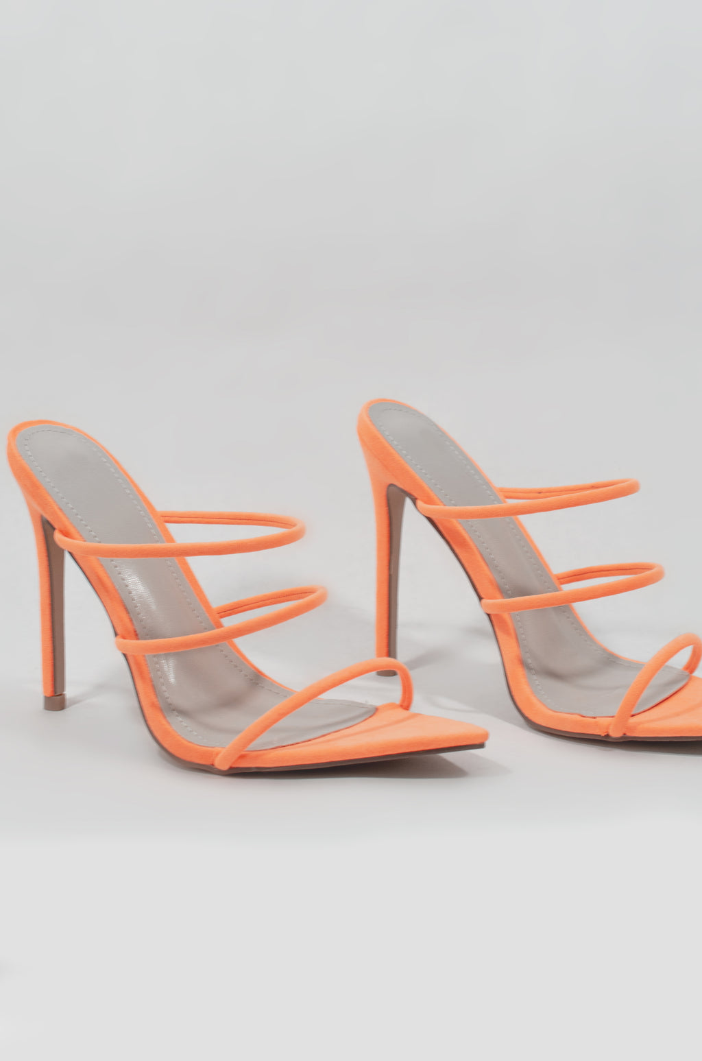 Unforgettable - Neon Orange Strappy Heels