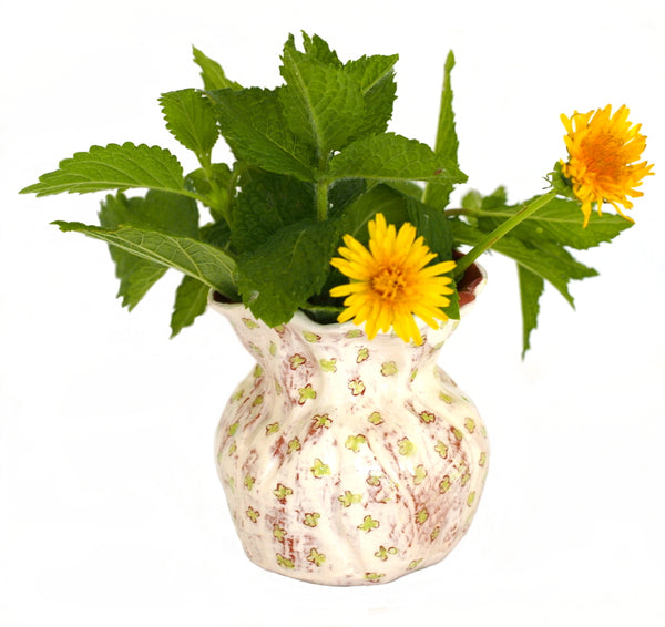 Flower Bud Vase - Green Floral Design