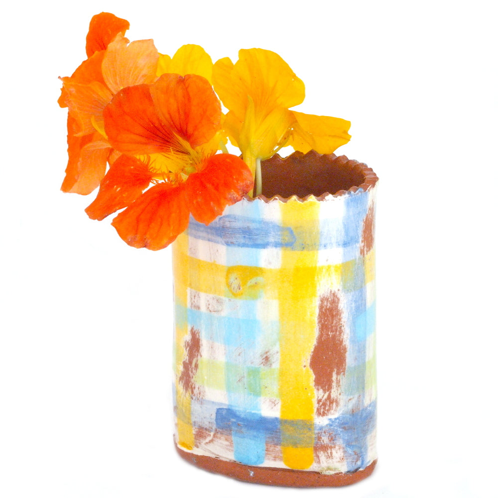 Flower Bud Vase - Blue and Yellow Plaid #1