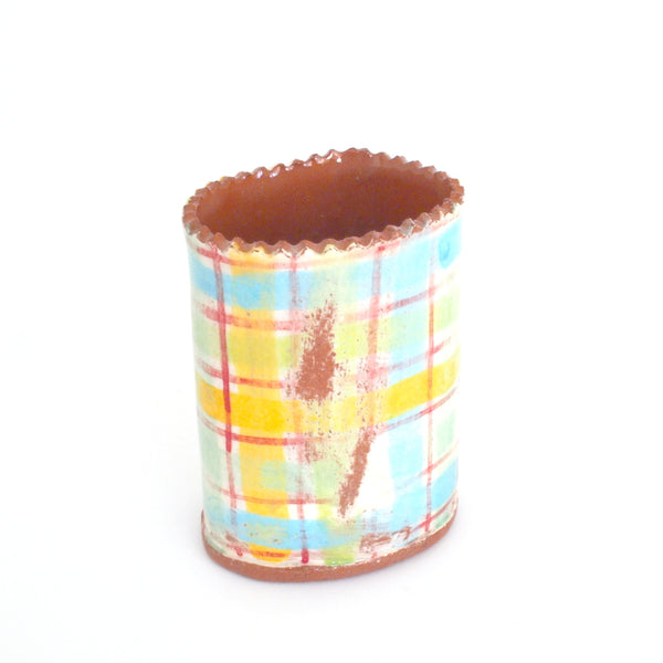 Flower Bud Vase - Blue and Yellow Plaid #2