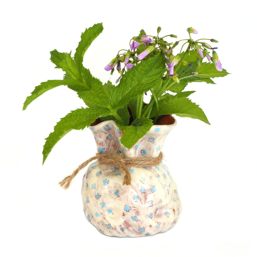 Flower Bud Vase - Blue Floral Design