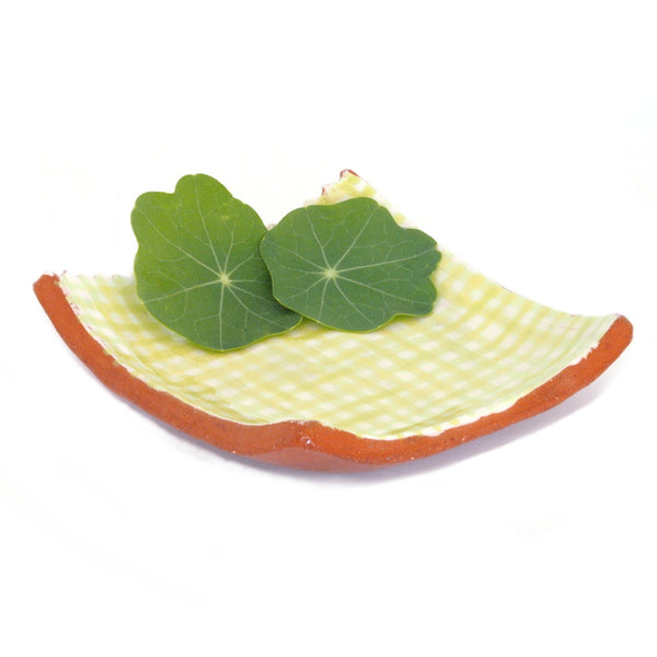 Small Plate with Green Gingham Design