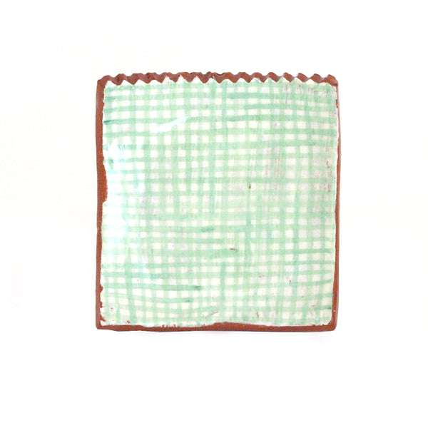 Small Plate with Mint Green Gingham Design