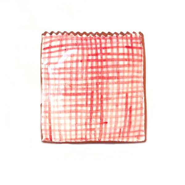 Small Plate with Red Gingham Design