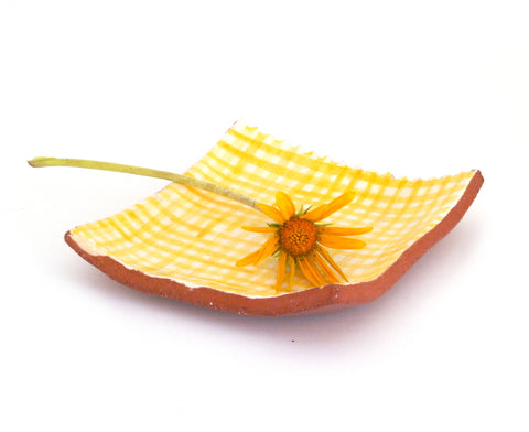 Small Plate with Yellow Gingham Design