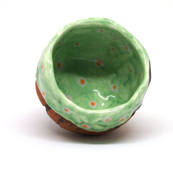 Green Polka Dot Yunomi Tea Cup