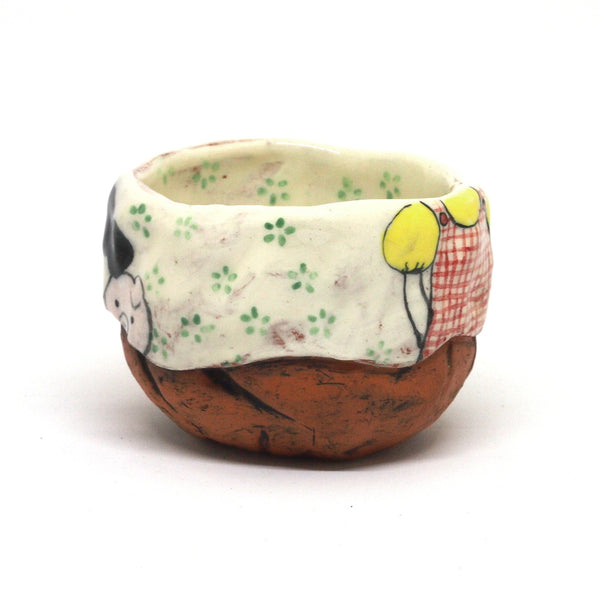 White Yunomi Tea Cup with Green Flowers