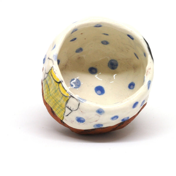 White Yunomi Tea Cup with Blue Polka Dots