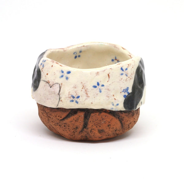 White Yunomi Tea Cup - with Blue Flowers