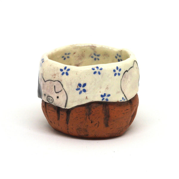 White Yunomi Tea Cup with Blue Flowers 16