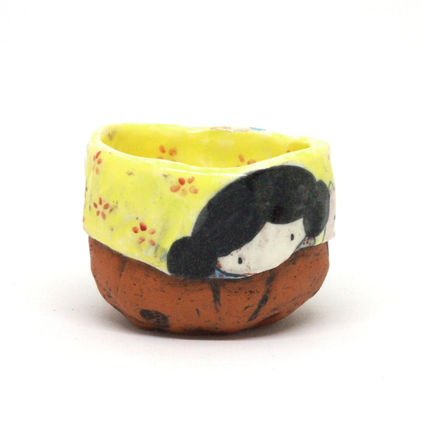 Yellow Yunomi Tea Cup with Red Flowers
