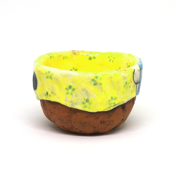 Yellow Yunomi Tea Cup with Blue Flowers