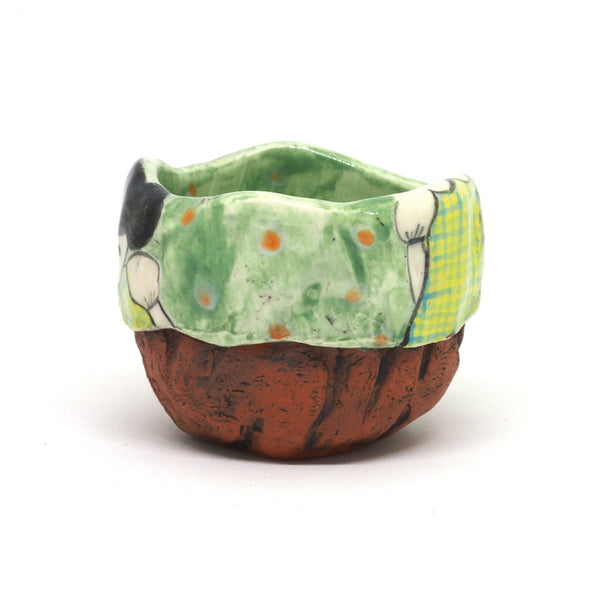 Green Yunomi Tea Cup with Polka Dots