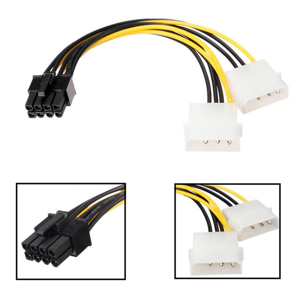 axGear Molex Dual 4 Pin to PCI-E 8 Pin Power Converter Cable IDE to PCI Express Power Wire