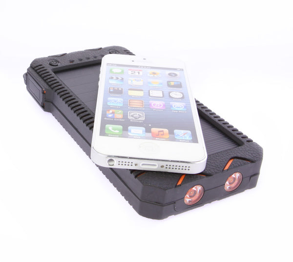Waterproof 12000 mAh Portable Solar Charger Dual USB Battery Power Bank LED