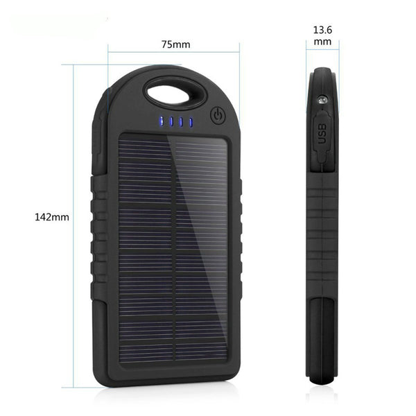 Portable External 5000mAh Waterproof Solar Charger Dual USB Battery Power Bank