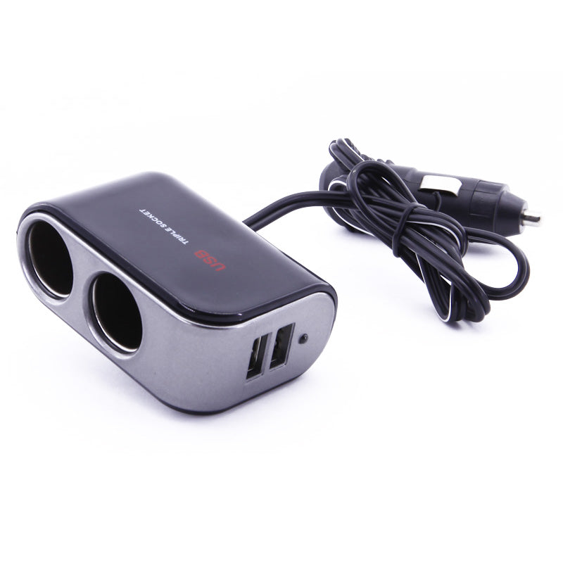 2 Way Dual DC Car Socket Cigarette Lighter Splitter w/ 2 USB Ports 2A