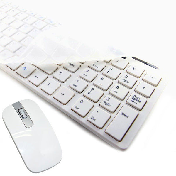 axGear Wireless 2.4G Keyboard Mouse Combo Slim For Desktop Laptop PC White