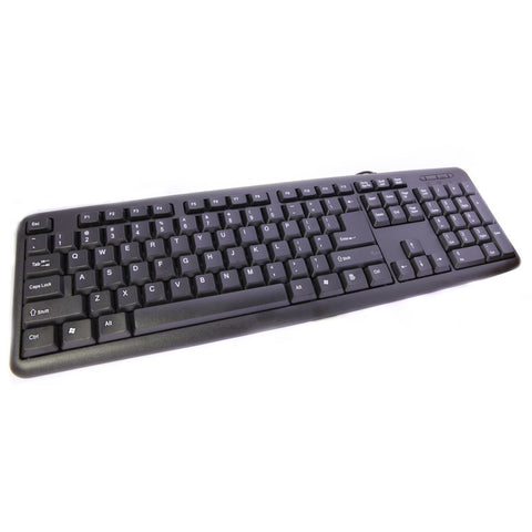 USB Wired Keyboard Full Sized Water Spill Resistant Standard Black