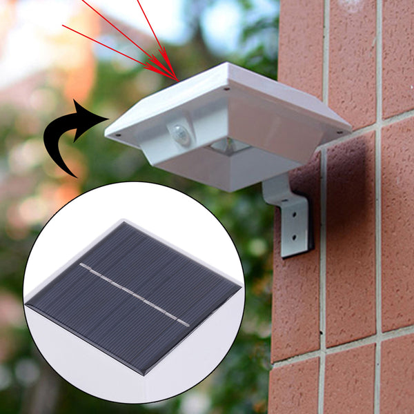 axGear Solar Powered 4 LED Outdoor Montion Sensor Light Fence Gutter Roof Yard Wall Garden
