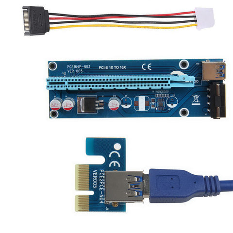 axGear USB3.0 PCI Express 1x to 16x Extender Riser Card Adapter Converter W/ USB Cable