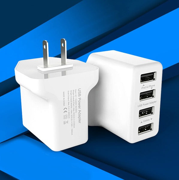 4 Port Wall AC Power Charger 2A 4A 20W Adapter Rapid Fast Travel Charging